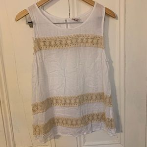 Merona size M white tank with cream lace detail